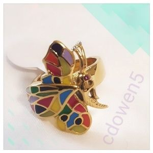 Gold Mosaic Butterfly Ring sz 6